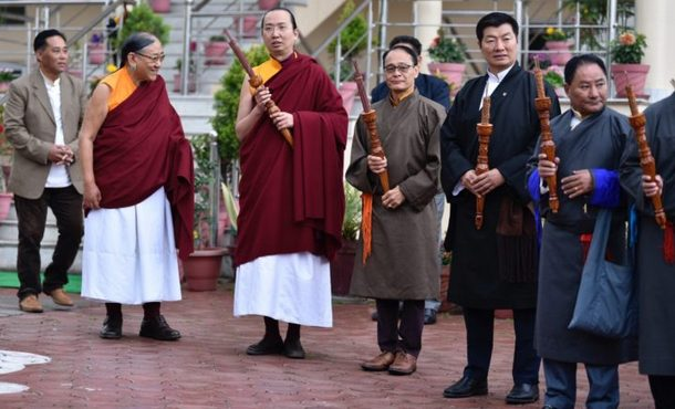 President Dr Sangay participating in the long life prayers to the 41st Sakya Trichen Rinpoche on the occasion of their the golden jubilee celebration at the Sakya Thubten Namgyal Ling Institute, in Puruwala, HP, India, on February 21, 2019. Photo: Pasang Dhondup/CTA