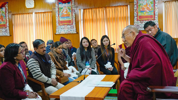 His Holiness the Dalai Lama speaking to a group of Indian scholars at his residence in Dharamsala, HP, India on January 24, 2019. Photo: Ven Tenzin Jamphel