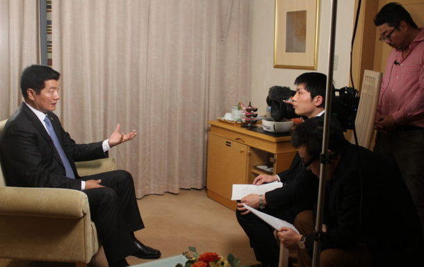 President Dr Lobsang Sangay being interviewed by NHK, Japan's national public broadcasting organization, Tokyo, Japan, January 25, 2019. Photo: Office of Tibet, Japan