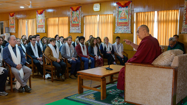 His Holiness the Dalai Lama speaking to a group of gap year students based in Israel during their meeting at his residence in Dharamsala, HP, India on January 28, 2019. Photo: Tenzin Choejor