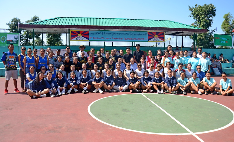 Participating teams and their coaches with the officials of Health Department of the CTA and Tibetan National Sports Association, at Gangchen Kyishong Basketball ground here in Dharamshala, India, June 2, 2019. Photo: TPI/Yangchen Dolma