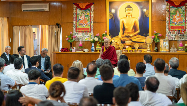 His Holiness the Dalai Lama addressing members of a group from Iran during their meeting at his residence in Dharamsala, HP, India on June 7, 2019. Photo by Tenzin Choejor