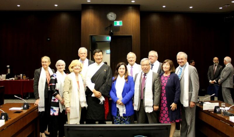 President Dr Sangay with Senator Thanh Hai Ngo and others at the Canadian Senate Standing Committee on Foreign Affairs and International Trade. Photo/Canada Tibet Committee