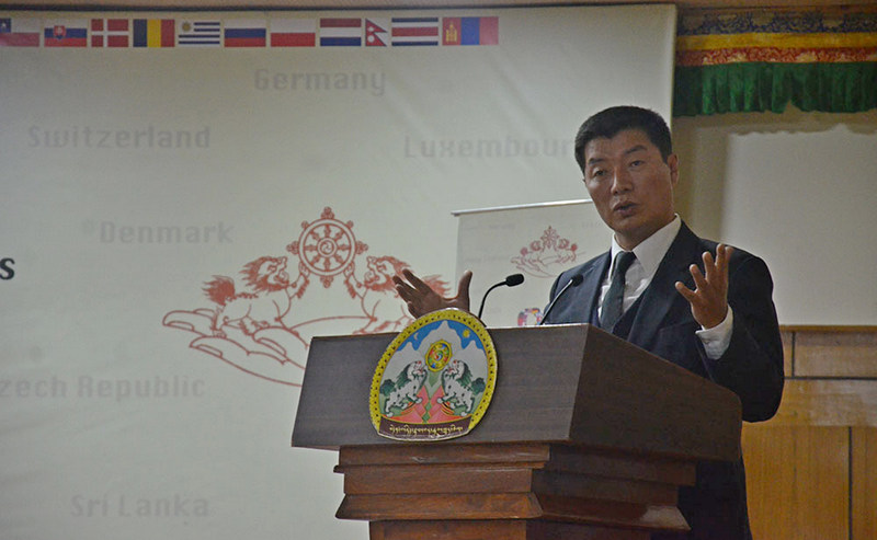 Dr Lobsang Sangay, President of the Central Tibetan Administration delivering the keynote address at the inaugural ceremony of the 8th International Conference of TSGs in Dharamshala, India,  November 3, 2019. Photo: TPI/Yangchen Dolma