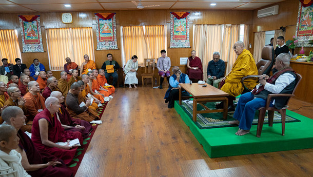 His Holiness the Dalai Lama speaking to members of the International Network of Engaged Buddhists at his residence in Dharamshala, HP, India on October 21, 2019. Photo: Tenzin Choejor