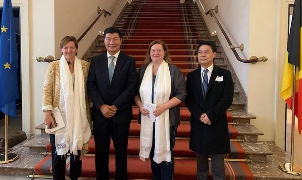 President Dr Lobsang Sangay and Tashi Phuntsok, Representative of Office of Tibet, Brussels with Senator Sabine de Bethune and Senator Els Van Hoof at the Belgian Senate, Rue du Louvain 7, Brussels, the Capital of the European Union, on October 17, 2019. Photo: Sikyong Office