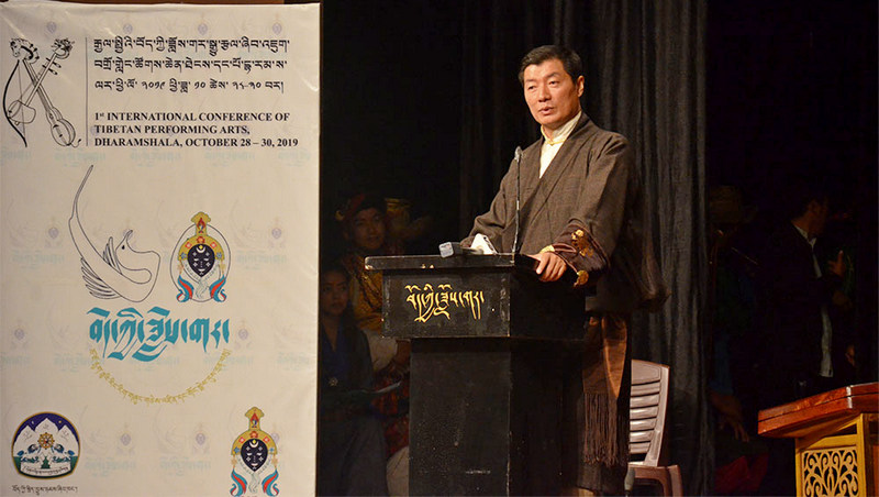 President Dr Lobsang Sangay speaking at the inaugural ceremony of the First-ever International conference of Tibetan Performing Arts and the 60th anniversary of TIPA, October 28, 2019, in Dharamshala, India. Photo: TPI/Yangchen