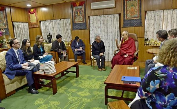 His Holiness the Dalai Lama speaking to the U.S delegation led by Ambassador Sam Brownback of U.S Ambassador at large for Religious Freedom, in Dharamshala, India, on Monday, October 28, 2019. Photo: OOHHDL