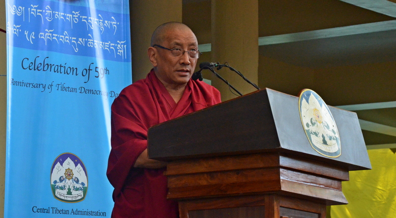 Ven Karma Gelek Yuthok, acting President of the Tibetan government in-Exile delivering Kashag's Statement on the 59th Anniversary of Tibetan Democracy Day, in Dharamshala, India, on September 2, 2019. Photo: TPI/Yangchen Dolma