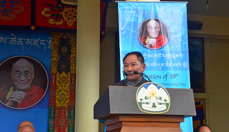 Speaker Pema Jungney delivering statement of the Tibetan Parliament in Exile on the Occasion of the 59th Anniversary of Tibetan Democracy of the Tibetan People in Exile, in Dharamshala, India, on September 2, 2019. Photo: TPI/Yangchen Dolma