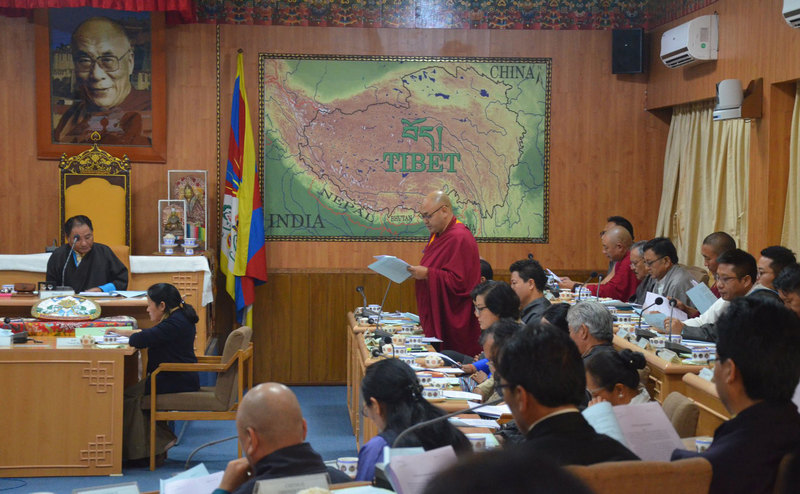 The proceedings of the first day of the 8th session of 16th Tibetan parliament, in Dharamshala, India, on September 20, 2019. Photo: TPI/Yangchen Dolma