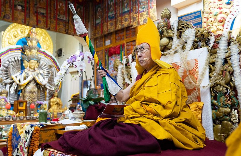 His Holiness the Dalai Lama holding a ritual staff during the Long Life Offering Ceremony at the Main Tibetan Temple in Dharamshala, HP, India on September 13, 2019. Photo by Tenzin Choejor