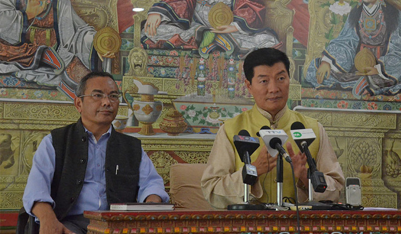 President Dr Lobsang Sangay, accompanied by DIIR Secretary Acharya Tsewang Gyalpo, during a press conference at the Kashag Secretariat Hall, CTA, Dharamshala, India, on September 25, 2019. Photo: TPI/Yangchen Dolma