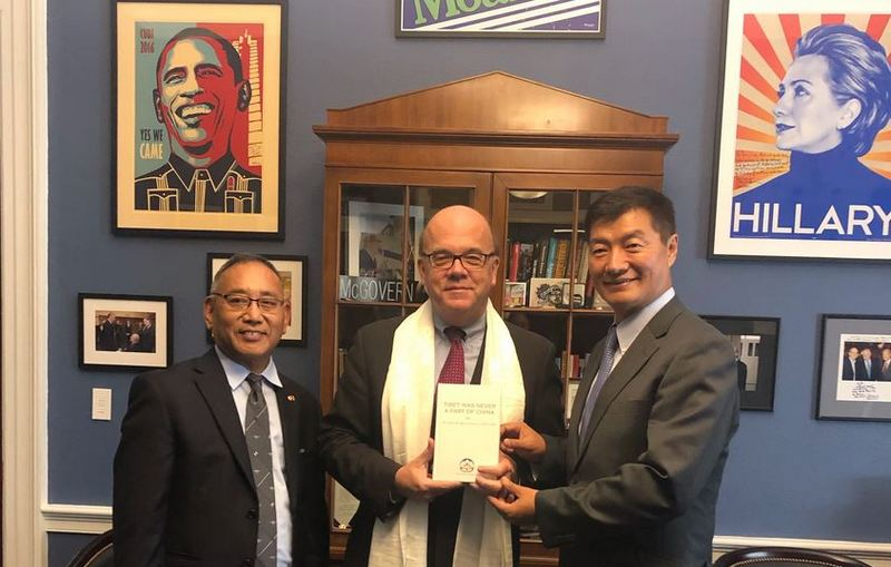 President Dr Sangay  met with Congressman Jim McGovern, the chairman of the Congressional-Executive Commission on China.  Photo: OOT