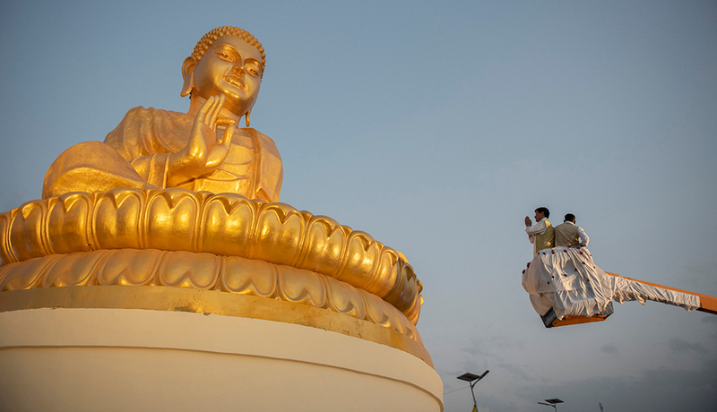 President Dr Lobsang Sangay pays his homage before the 50 feet statue of Tathagat Buddha at its grand inauguration ceremony. Photo/Tenzin Jigme/CTA