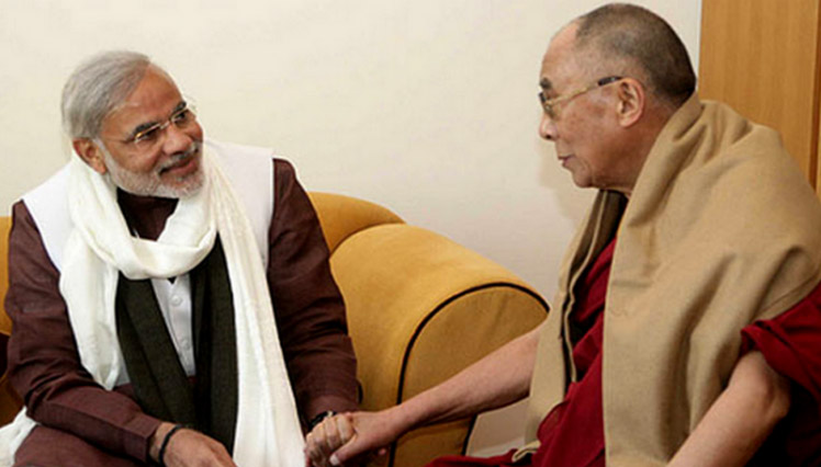 His Holiness the Dalai Lama with Narendra Mod. Photo: File