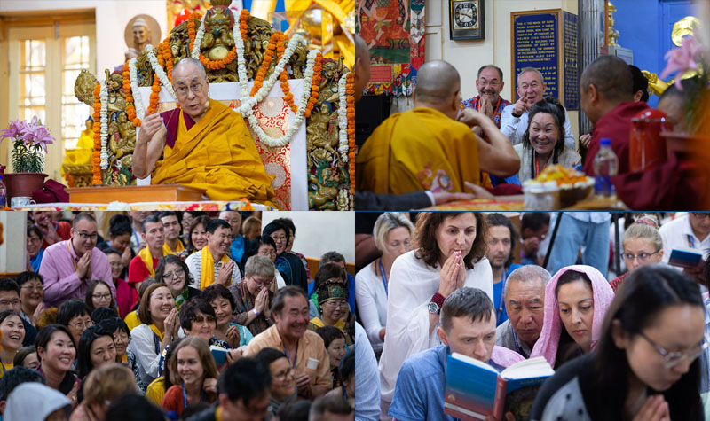 His Holiness at the Main Tibetan Temple for the final day of his teachings requested by Russian Buddhists in Dharamsala, HP, India on May 12, 2019. Photo by Tenzin Choejor