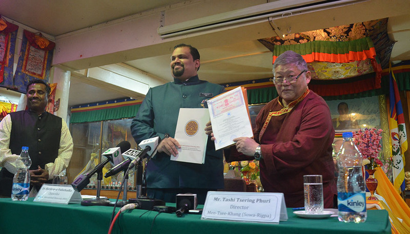 Men-Tsee-Khang in Dharamshala, India on Wednesday and the Manipur International University signed an agreement on collaborative to preserve, protect, promote and propagate Sowa-Rigpa. — Photo: TPI/Yangchen Dolma