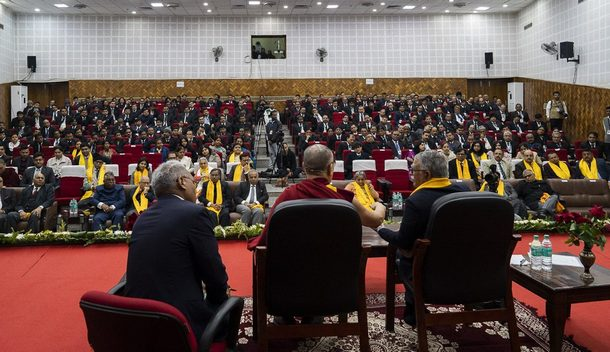 "His Holiness speaking on ""Love and Compassion - A Way of Life"" at the Bihar Judicial Academy in Patna, Bihar, India on January 18, 2020. Photo by Lobsang Tsering"