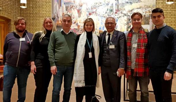 Representative Sonam Frasi with Guri Melby MP and representatives of the Uyghur and Hong Kong Support Committees, in the Norwegian Parliament, Oslo, the Capital of Norway, on January 15, 2020. Photo/Namgyal T. Svenningsen/NTC