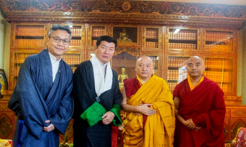 Sikyong and Chief Resilience Officer Kaydor Aukatsang with Kyabje Tsurphu Goshir Gyaltsab Rinpoche and Yongey Mingyur Rinpoche.