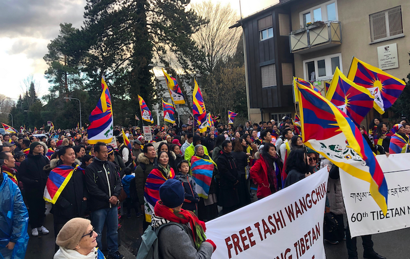 Tibetans and Supporters in Switzerland in front of the Chinese Embassy in protest against repressive rule in Tibet. Photo: Tibet Bureau Geneva