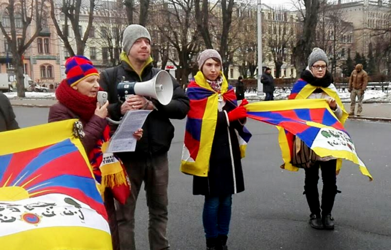 Tibet supporters in Bulgaria observing the 60th Anniversary of Tibetan National Uprising Day.. Photo: Tibet Bureau Geneva