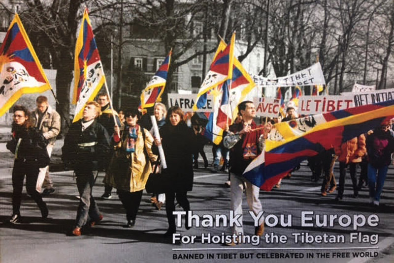 "The pictorial book entitled ""Thank You Europe – For Hoisting the Tibetan Flag"", published by The Office of Tibet, Brussels as part of Thank You Year celebrations in 2018. Photo: Office of Tibet, Brussels"