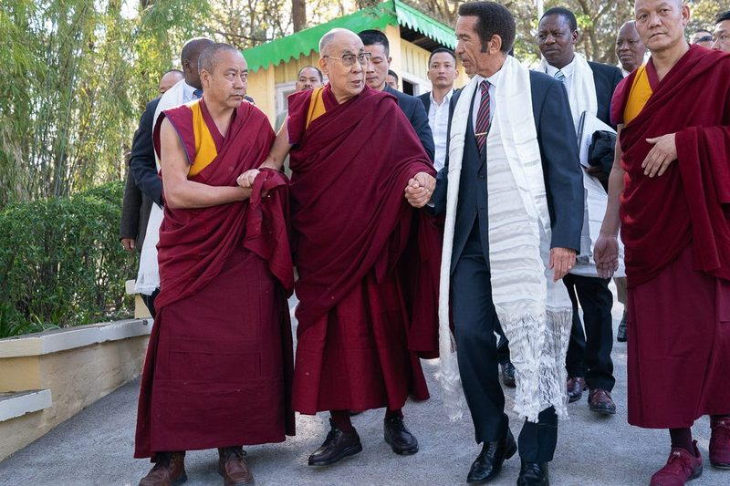 His Holiness escorting former President of Botswana Ian Khama to the entrance of the Main Tibetan Temple courtyard where President Khama will join in 60th Tibetan National Uprising Day commemorations in Dharamsala, HP, India on March 10, 2019. Photo by Tenzin Choejor