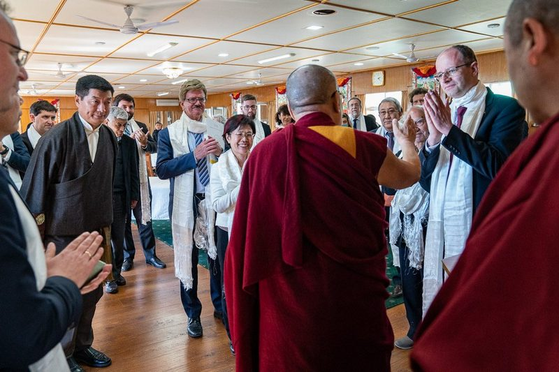 His Holiness saying a few final words at the conclusion of lunch with special guests including European Parliamentarians, the former President of Botswanan and Tibet supporters at his residence in Dharamsala, HP, India on March 10, 2019. Photo by Tenzin Choejor