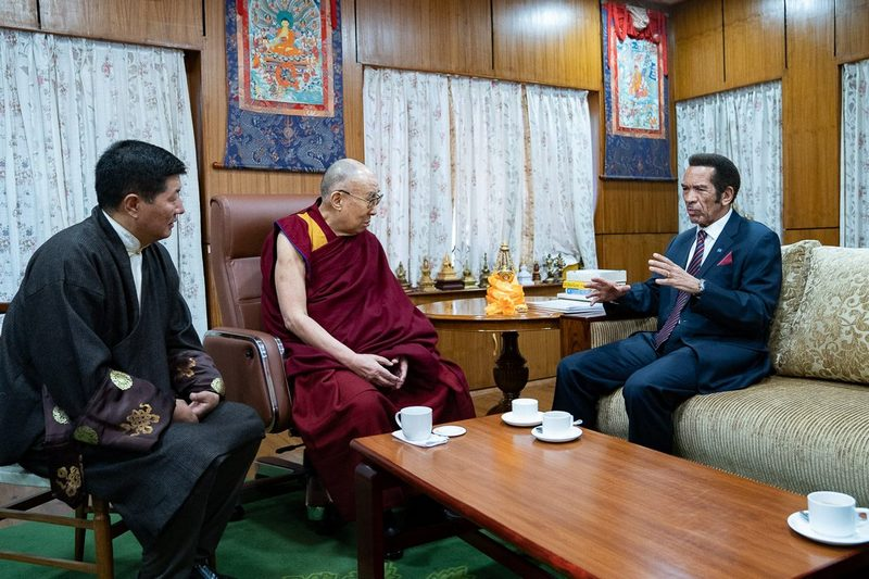 President Dr Lobsang Sangay looks on during the meeting between former President of Botswana Ian Khama and His Holiness the Dalai Lama at His Holiness's residence in Dharamshala, HP, India on March 10, 2019. Photo by Tenzin Choejor