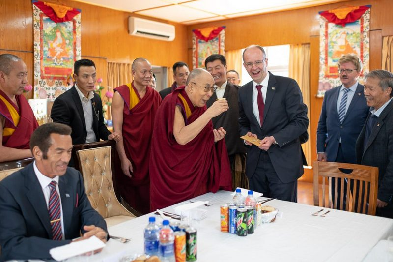Michael Brand, Member of the German Bundestag presenting a bottle of honey to His Holiness at the start of their luncheon at his residence in Dharamsala, HP, India on March 10, 2019. Photo by Tenzin Choejor