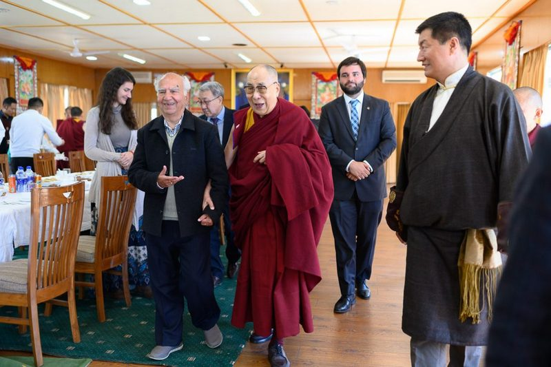 President Dr Lobsang Sangay watches as His Holiness escorting former Chief Minister of HP Shanta Kumar to the buffet table at their luncheon at his residence in Dharamshala, HP, India on March 10, 2019. Photo by Tenzin Choejor