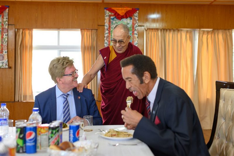 His Holiness checking on how Member of the European Parliament Thomas Mann is enjoying the lunch at his residence in Dharamsala, HP, India on March 10, 2019. Photo by Tenzin Choejor