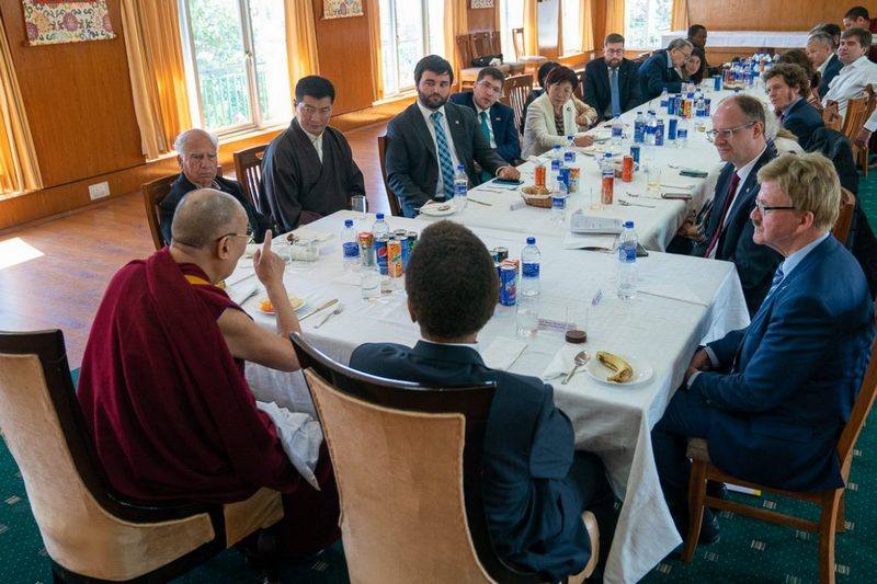 His Holiness speaking to a group of special guests, including European parliamentarians, that attended the 60th Tibetan National Uprising Day commemoration during their luncheon at his residence in Dharamsala, HP, India on March 10, 2019. Photo by Tenzin Choejor