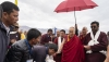 His Holiness the Dalai Lama being escorted to his motorcade on arrival at the helipad in Padum, Zanskar, J&K, India on July 21, 2018. Photo by Tenzin Choejor
