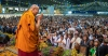 His Holiness the Dalai Lama greeting the audience on his arrival on stage at Skonto Hall in Riga, Latvia on June 16, 2018. Photo by Tenzin Choejor