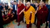 His Holiness walking back to his residence at the conclusion of the final session of his teachings at the Main Tibetan Temple in Dharamshala, HP, India on February 23, 2019. Photo: Tenzin Choejor