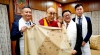 His Holiness the Dalai Lama holds the map of Taiwan with the delegation from Taiwan, at his residence in Dharamshala, India, on July 25, 2019. Photo: VOT