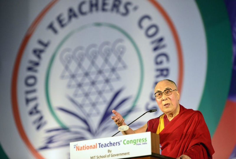 His Holiness the Dalai Lama addressing the audience at the 2nd National Teachers' Congress Inaugural Ceremony at the campus of MAEER MIT World Peace University in Pune, Maharashtra, India on January 10, 2018. Photo: Lobsang Tsering