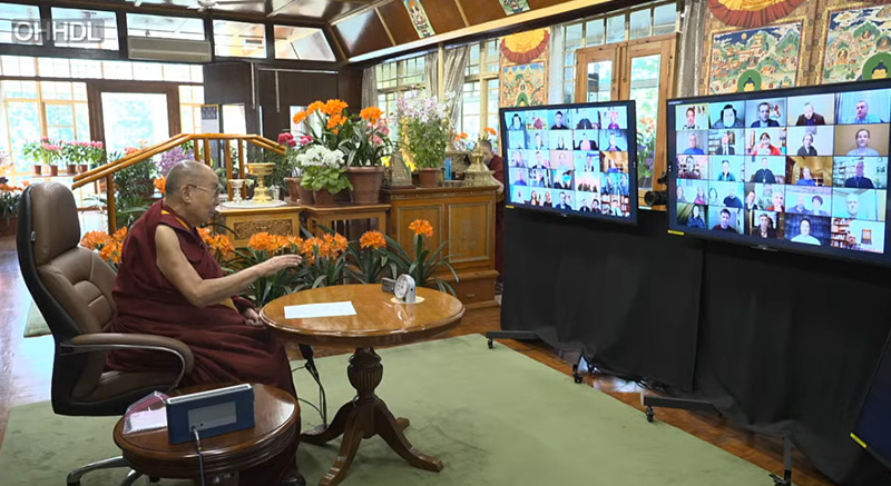 His Holiness the Dalai Lama while speaking on Morals and Ethics, from his residence in Dharamsala, HP, India on April 2, 2021