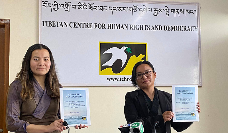 Tsering Tsomo, director and Tenzin Dawa, researcher from Tibetan Centre for Human Rights and Democracy on February 23, 2021. Photo:TPI/Yangchen Dolma
