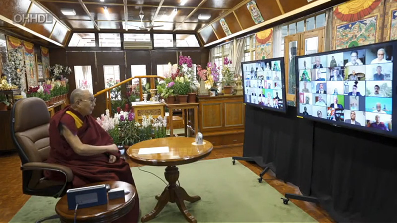 His Holiness the 14th Dalai Lama at a virtual conference with the Indian Police Foundation on February 17, 2021.