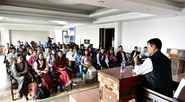 President Dr Lobsang Sangay addressing the summer camp students at Upper TCV School in Dharamshala, India, on August 2, 2018. Photo/Tenzin Phende/DIIR