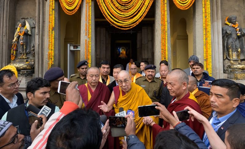 His Holiness speaking to members of the press at the Mahabodhi Stupa in Bodhgaya, Bihar, India on December 25, 2019. Photo by Tenzin Choejor