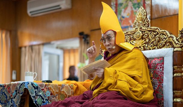 His Holiness the Dalai Lama during his teaching for Mongolians at his residence in Dharamsala, HP, India on February 28, 2019. Photo by Tenzin Choejor