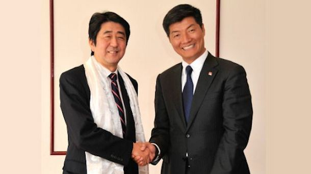 Sikyong Dr Lobsang Sangay with Mr Shinzo Abe, then leader of the Liberal Democratic Party during the former's visit to Japan in April 2012. Photo: File/CTA