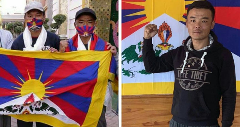 Tenzin Dhondup and Tenzin Nyima, two Tibetan youths who are on peace march for Tibet from Dharamshala on November 2, 2020 to Nathula, Sikkim, India within 90 days of walk covering over 2,100 km.  Photo: TPI