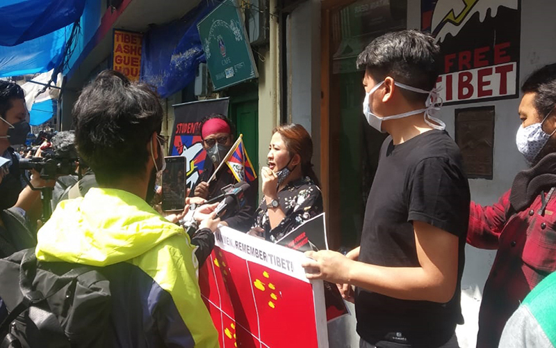 Tibetan activists and supporters commemorate the Tiananmen Square massacre