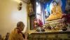 His Holiness paying his respects before the statue of the Buddha inside the stupa at the Mahabodhi Temple in Bodhgaya, Bihar, India on January 17, 2020. Photo by Tenzin Choejor